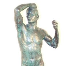 Arte: LA EDAD DE HIERRO EN BRONCE PATINADO, AL IGUAL QUE LA DE A. RODIN (56CM & 7,8KG). Lote 155421372