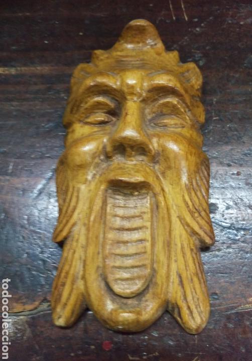 Arte: Antigua cara tallada en madera - Foto 2 - 162695206