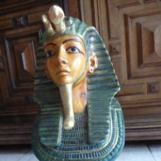 Arte: BUSTO EN MADERA POLICROMADA DE TUTANKAMON. EGIPTO. GRAN TAMAÑO. 49 CM ALT. CON PEANA.. Lote 162893030