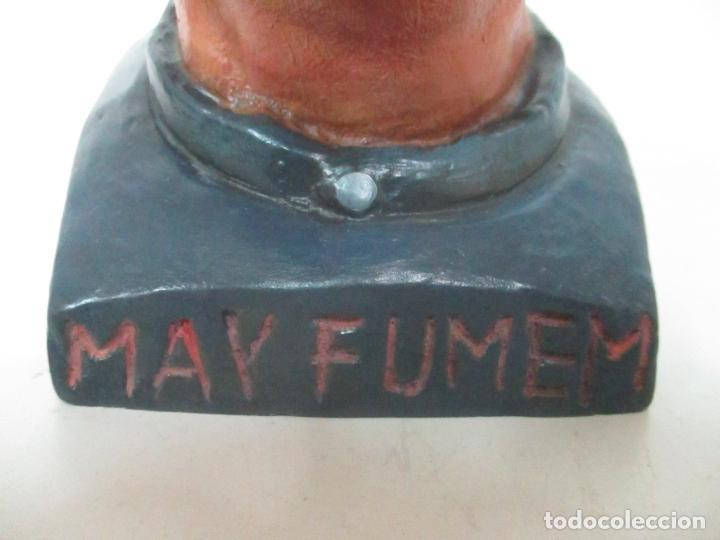 Arte: Curiosa Tabaquera - May Fumen - Sello Buxo, Olot - Terracota Policromada - Principios S. XX - Foto 2 - 162932634