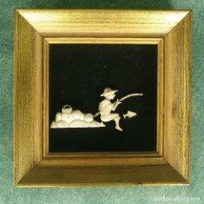 Arte: CUADRO CON ESCENA EN MARFIL LEGÍTIMO TALLADO A MANO - REAL IVORY SPAIN. Lote 163459082