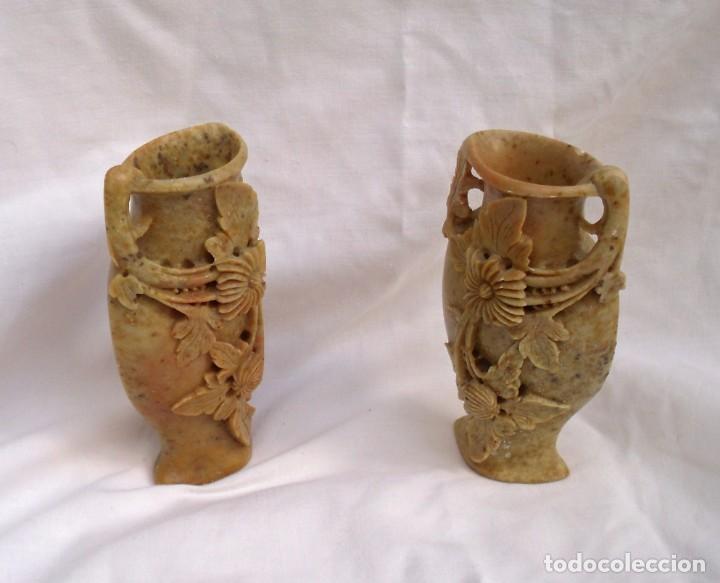 Arte: parejas de floreros pequeños en piedra de jabón - Foto 5 - 163709650
