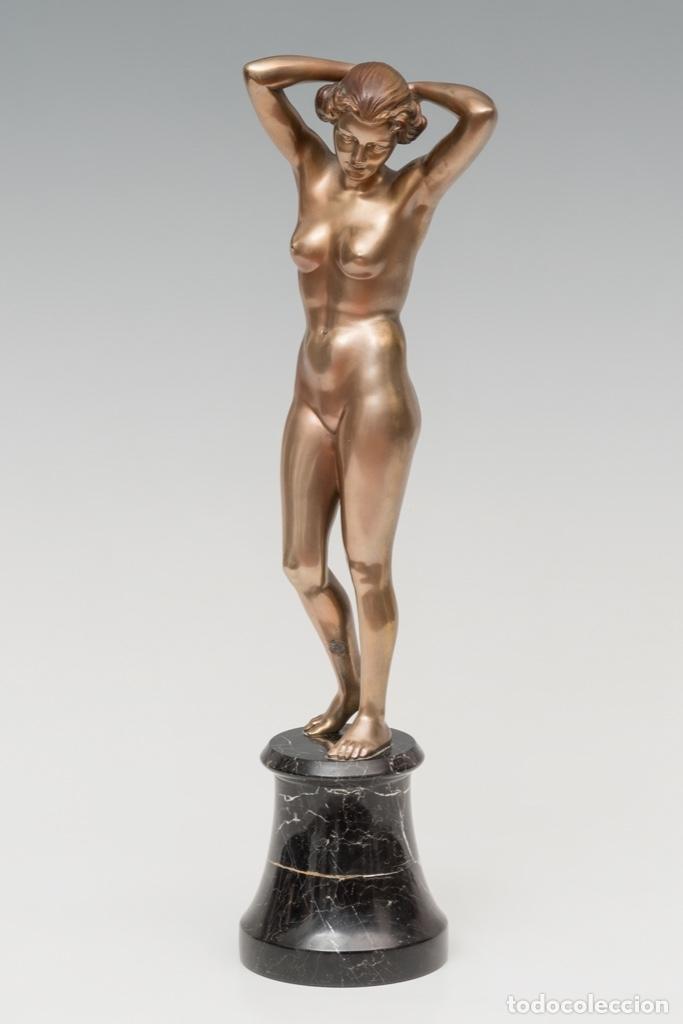 Arte: 42,2 cm. BRONCE PATINADO DE JOSEF LORENZL . AUSTRIA . ORIGINAL ESCULTURA ART DECO 1920 - 1930 - Foto 6 - 27600308