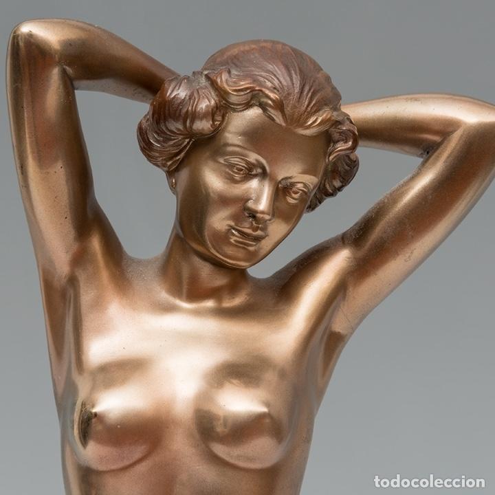 Arte: 42,2 cm. BRONCE PATINADO DE JOSEF LORENZL . AUSTRIA . ORIGINAL ESCULTURA ART DECO 1920 - 1930 - Foto 7 - 27600308