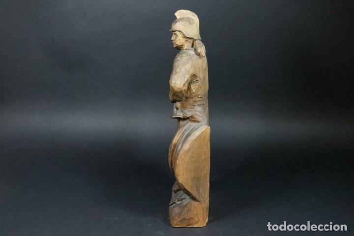 Arte: MAGNIFICA ESCULTURA talla mano Bombero manguera incendios tallado madera personaje S.XIX AL 50 cm - Foto 4 - 164679950