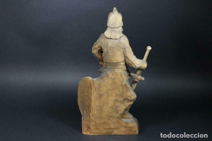 Arte: MAGNIFICA ESCULTURA talla mano Bombero manguera incendios tallado madera personaje S.XIX AL 50 cm - Foto 8 - 164679950