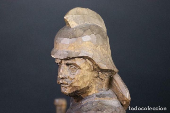 Arte: MAGNIFICA ESCULTURA talla mano Bombero manguera incendios tallado madera personaje S.XIX AL 50 cm - Foto 10 - 164679950