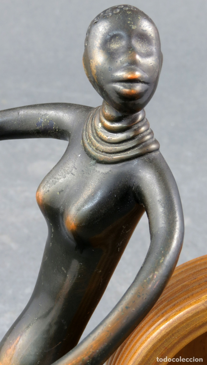 Arte: Escultura mujer africana en bronce y cuenco de madera atribuida a Franz Hagenauer Austria 1906 1986 - Foto 6 - 164710242