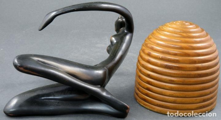 Arte: Escultura mujer africana en bronce y cuenco de madera atribuida a Franz Hagenauer Austria 1906 1986 - Foto 7 - 164710242