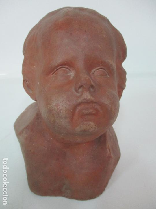 Arte: Escultura - Busto en Terracota - Niño - Firma M.P. 30-4-1913, Reus - Foto 2 - 165070302