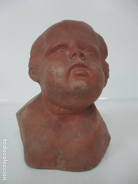 Arte: Escultura - Busto en Terracota - Niño - Firma M.P. 30-4-1913, Reus - Foto 3 - 165070302