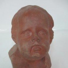 Arte: ESCULTURA - BUSTO EN TERRACOTA - NIÑO - FIRMA M.P. 30-4-1913, REUS. Lote 165070302