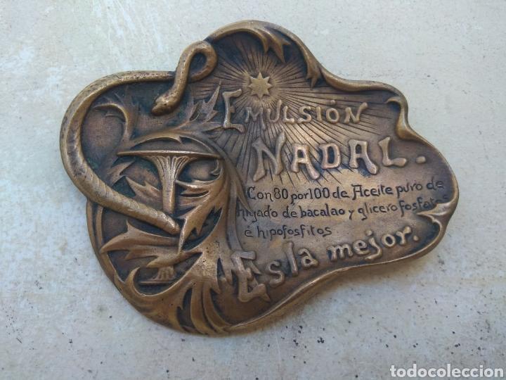 Arte: Antiguo Cenicero Bronce Publicidad Farmacia Emulsión Nadal - Firmado Masriera & Campins - Barcelona - Foto 2 - 160406429