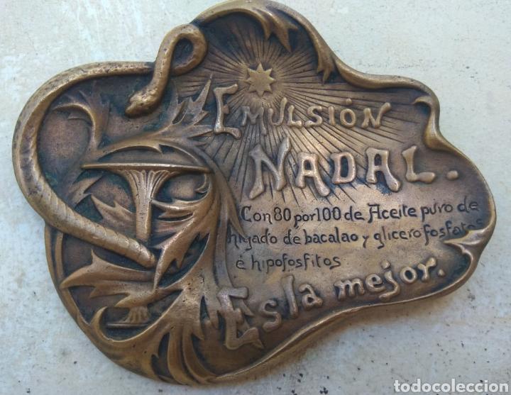 Arte: Antiguo Cenicero Bronce Publicidad Farmacia Emulsión Nadal - Firmado Masriera & Campins - Barcelona - Foto 3 - 160406429