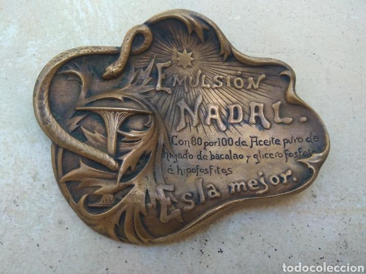 Arte: Antiguo Cenicero Bronce Publicidad Farmacia Emulsión Nadal - Firmado Masriera & Campins - Barcelona - Foto 10 - 160406429