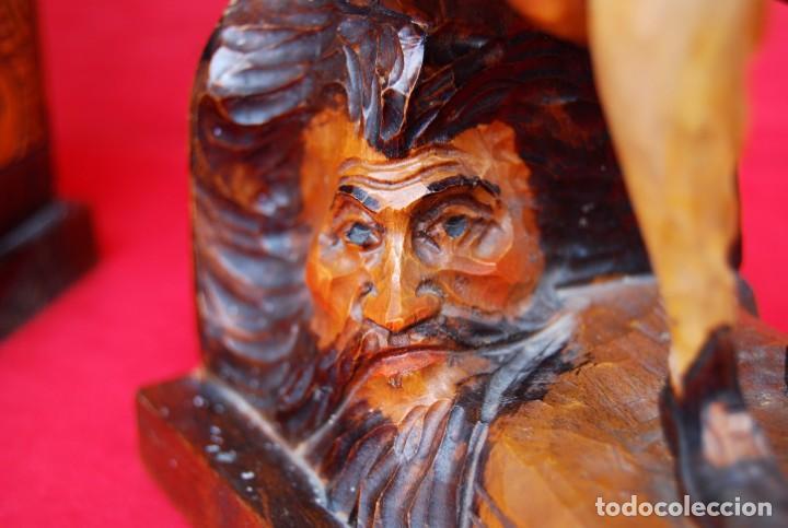 Arte: PAREJA SUJETALIBROS DON QUIJOTE Y SANCHO PANZA MADERA TALLADA Y POLICROMADA DETALLES DE GRAN CALIDAD - Foto 28 - 165549730