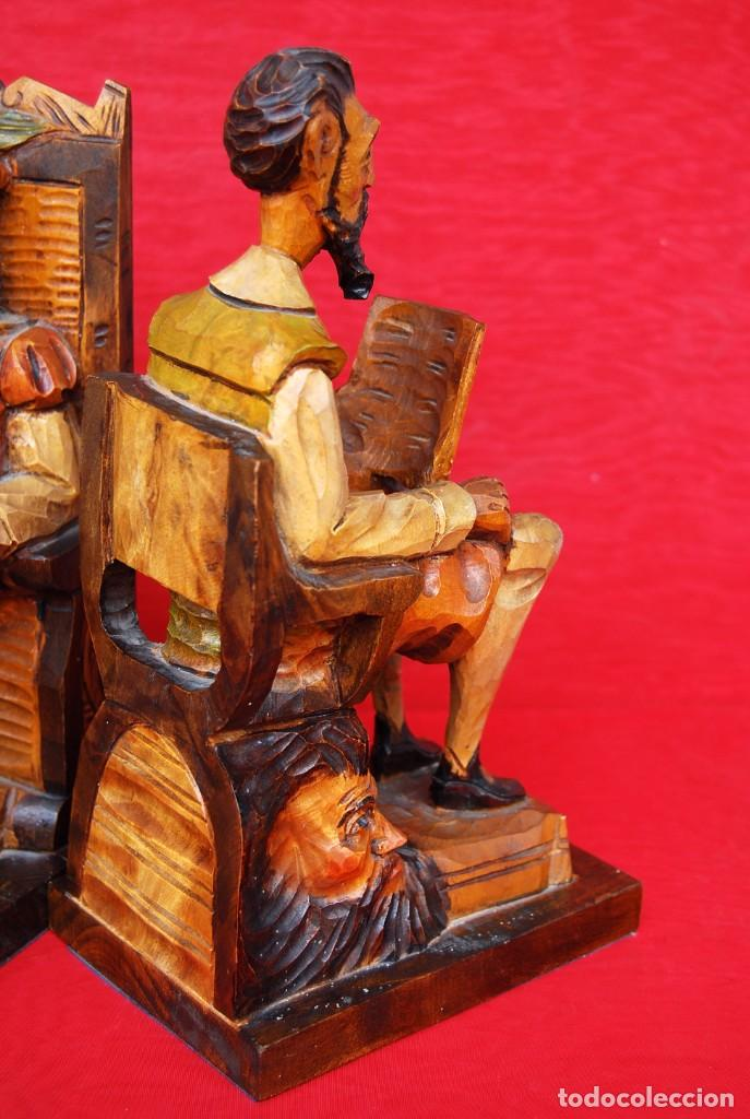 Arte: PAREJA SUJETALIBROS DON QUIJOTE Y SANCHO PANZA MADERA TALLADA Y POLICROMADA DETALLES DE GRAN CALIDAD - Foto 38 - 165549730