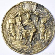 Arte: GRAN MEDALLON ALTO RELIEVE EN BRONCE, 14,5 CM., 367 GR. CAROLUS REX. Lote 165965406