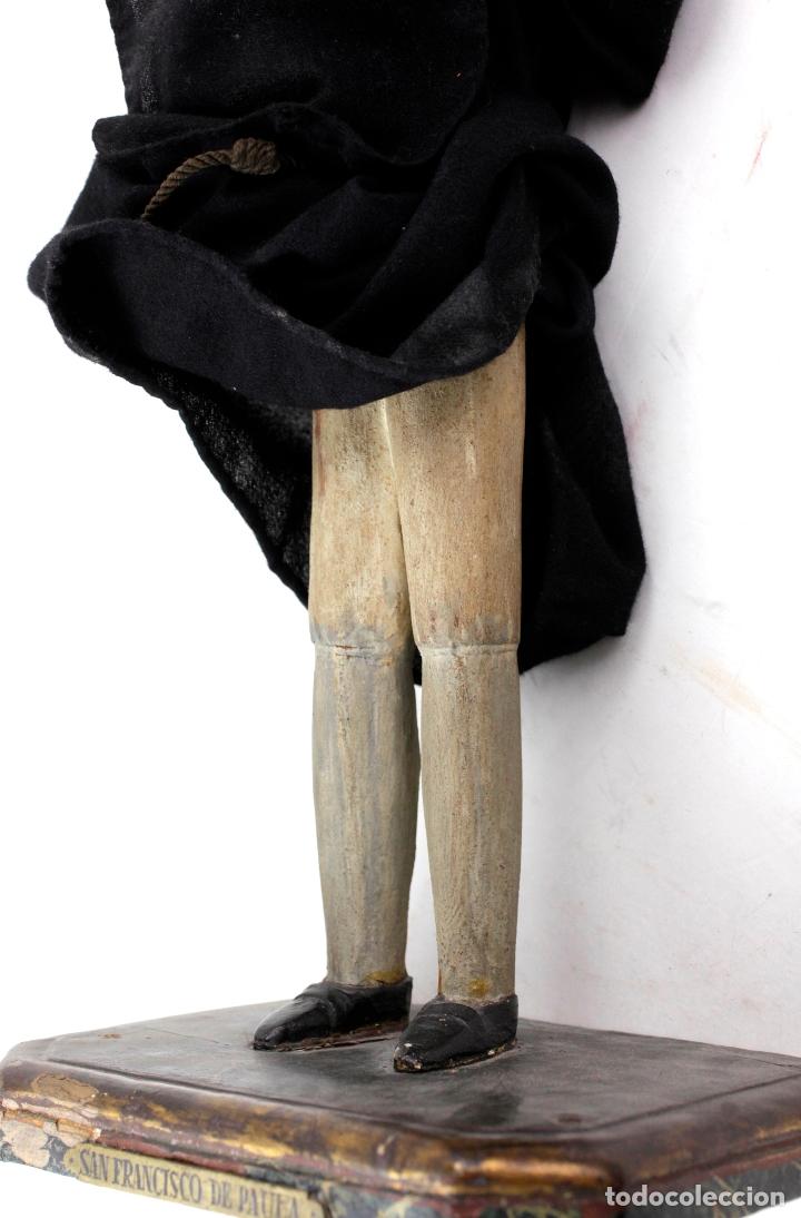 Arte: Talla del santo San Francisco de Paula, siglo XIX, Francisco Palau Ferrer escultor. 49x21x15cm - Foto 3 - 166876360