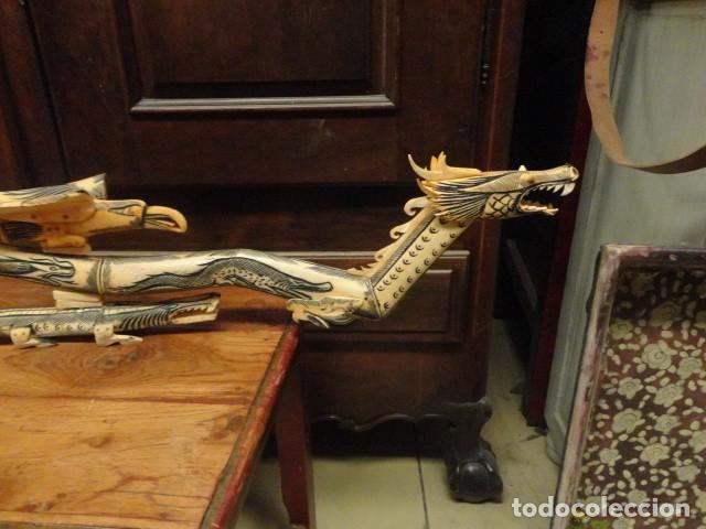 Arte: Dragon orientan realizado en hueso coloreado mide 110 cms de largo - Foto 2 - 167526568