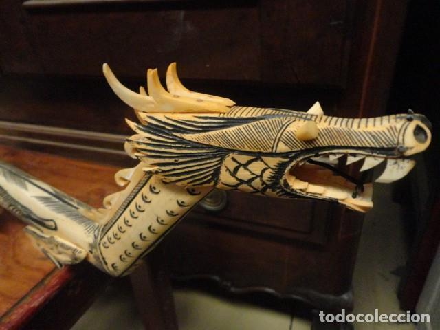 Arte: Dragon orientan realizado en hueso coloreado mide 110 cms de largo - Foto 7 - 167526568