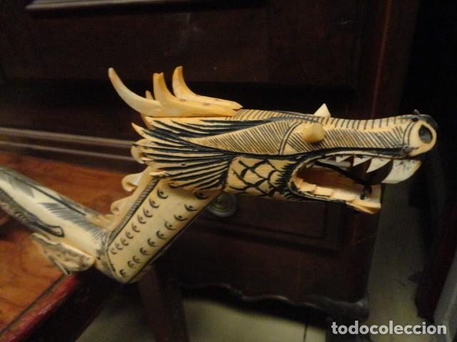Arte: Dragon orientan realizado en hueso coloreado mide 110 cms de largo - Foto 8 - 167526568