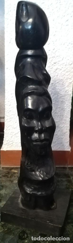 CARA DE INDÍGENA TALLADA EN EBANO, CUBA (Arte - Escultura - Madera)