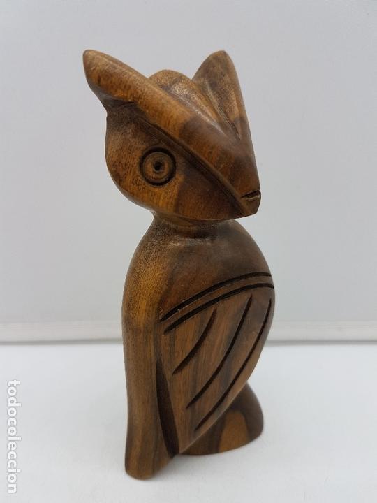 Arte: Bonito buho de la suerte antiguo tallado a mano en madera de rio tropical. - Foto 2 - 167577772
