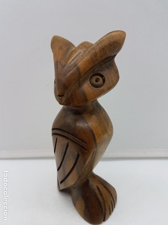 Arte: Bonito buho de la suerte antiguo tallado a mano en madera de rio tropical. - Foto 3 - 167577772