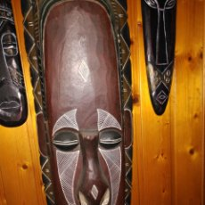 Arte: RARAS CONJUNTO TRES MASCARAS GRAN DIMENSIÓN TRIBALES AFRICA DOS HACEN DE OREJAS 170 EU. Lote 167631840