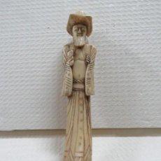 Arte: MARAVILLOSA TALLA JAPONESA EN MARFIL DE UN HOMBRE CON SOMBRERO, DATA DEL SIGLO XIX, 31,5 CMS. Lote 167669473