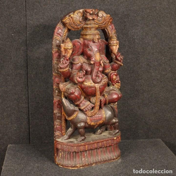 Arte: Escultura india de madera de divinidad - Foto 2 - 167701168