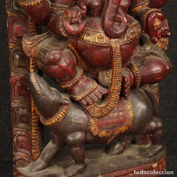 Arte: Escultura india de madera de divinidad - Foto 4 - 167701168