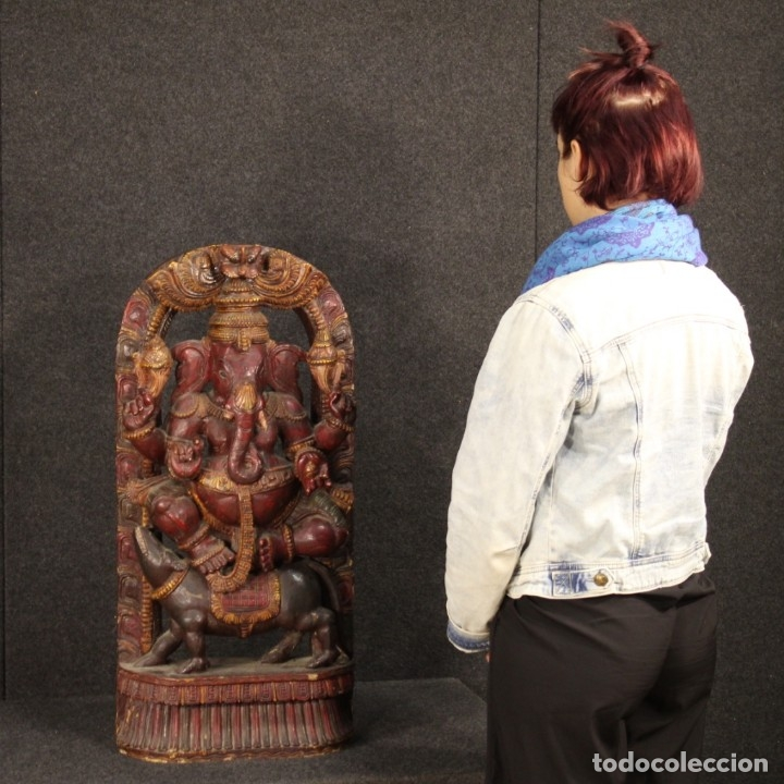 Arte: Escultura india de madera de divinidad - Foto 12 - 167701168