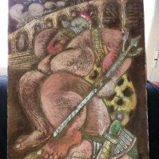 Arte: CUADRO TALLADO TALLA MADERA ESCENA CIRCO ROMANO OBESO ÚNICO ANTIGUO PRECIOSO. Lote 167724068