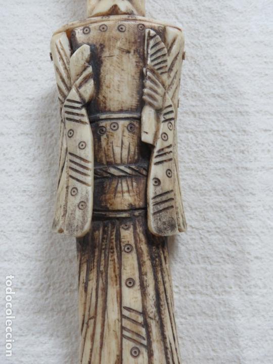 Arte: BONITA TALLA JAPONESA EN MARFIL-HUESO DE UNA MUJER CON ABANICO, DATA DEL SIGLO XIX, 33,5 CMS - Foto 4 - 167793128