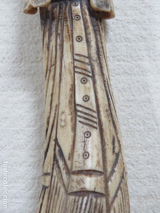 Arte: BONITA TALLA JAPONESA EN MARFIL-HUESO DE UNA MUJER CON ABANICO, DATA DEL SIGLO XIX, 33,5 CMS - Foto 8 - 167793128