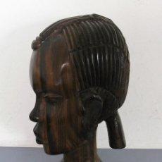 Arte: TALLA AFRICANA PALO SANTO O EBANO, BUSTO DE MUJER 22CM APROX, 1,47KG APROX. Lote 169057208