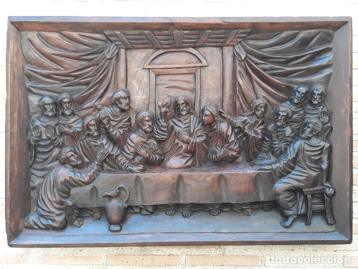 TALLA GRANDE DE MADERA EN BAJORRELIEVE - LA SANTA CENA - (Arte - Escultura - Madera)