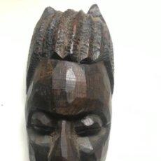 Arte: MÁSCARA AFRICANA TALLADA A MANO DE ÉBANO ANTIGUA. Lote 169543048
