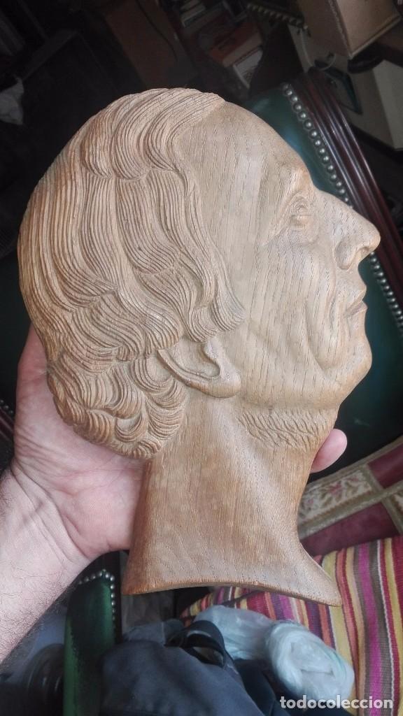 ESPECTACULAR RELIEVE,PERFIL DE HOMBRE EN MADERA (Arte - Escultura - Madera)