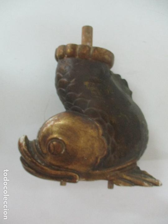 Arte: Decorativas Patas en Forma de Pez - Imperio -Talla de Madera Policromada y Dorada -Principios S. XIX - Foto 8 - 170005124