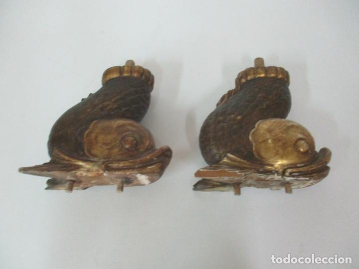 Arte: Decorativas Patas en Forma de Pez - Imperio -Talla de Madera Policromada y Dorada -Principios S. XIX - Foto 13 - 170005124
