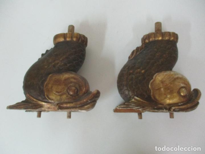 Arte: Decorativas Patas en Forma de Pez - Imperio -Talla de Madera Policromada y Dorada -Principios S. XIX - Foto 16 - 170005124