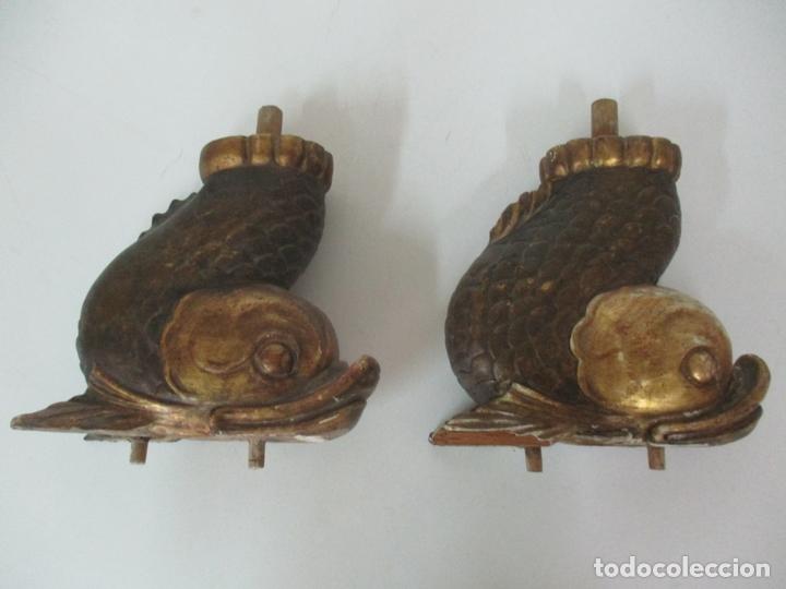 Arte: Decorativas Patas en Forma de Pez - Imperio -Talla de Madera Policromada y Dorada -Principios S. XIX - Foto 19 - 170005124