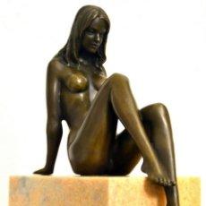 Arte: HERMOSA ESCULTURA EN BRONCE FINO. ESCULTURAL MUJER DESNUDA (25,4 CM & 4,3 KG). Lote 150412126
