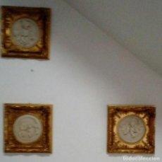 Arte: TRES CUADROS-MEDALLON EN PAN DE ORO Y MARMOL HECHOS A MANO. Lote 170407484