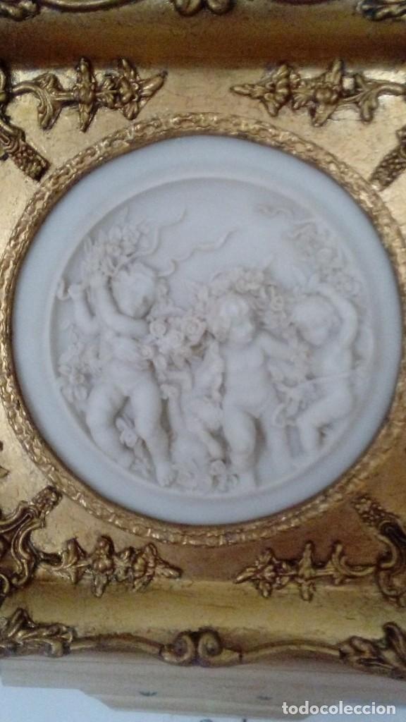 Arte: Tres cuadros-medallon en pan de oro y marmol hechos a mano - Foto 3 - 170407484