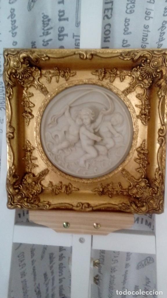 Arte: Tres cuadros-medallon en pan de oro y marmol hechos a mano - Foto 5 - 170407484