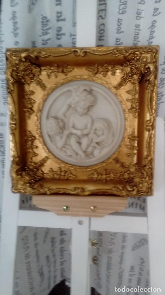 Arte: Tres cuadros-medallon en pan de oro y marmol hechos a mano - Foto 8 - 170407484